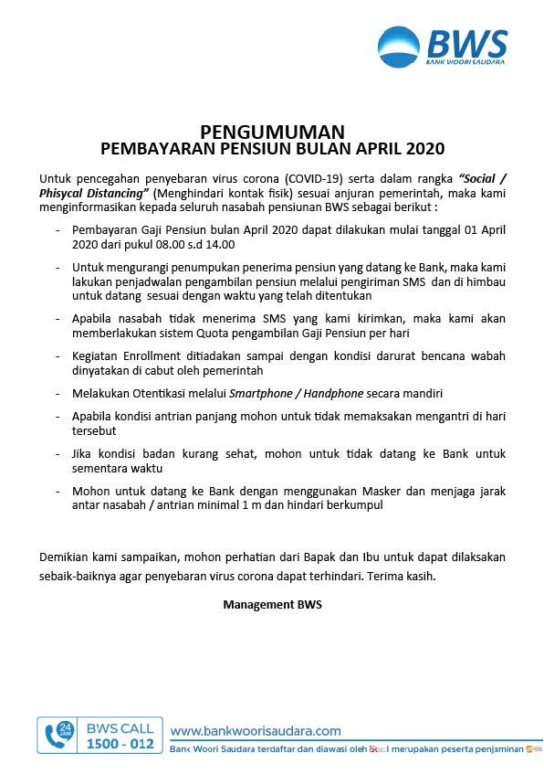 Pembayaran Pensiun Bulan April 2020